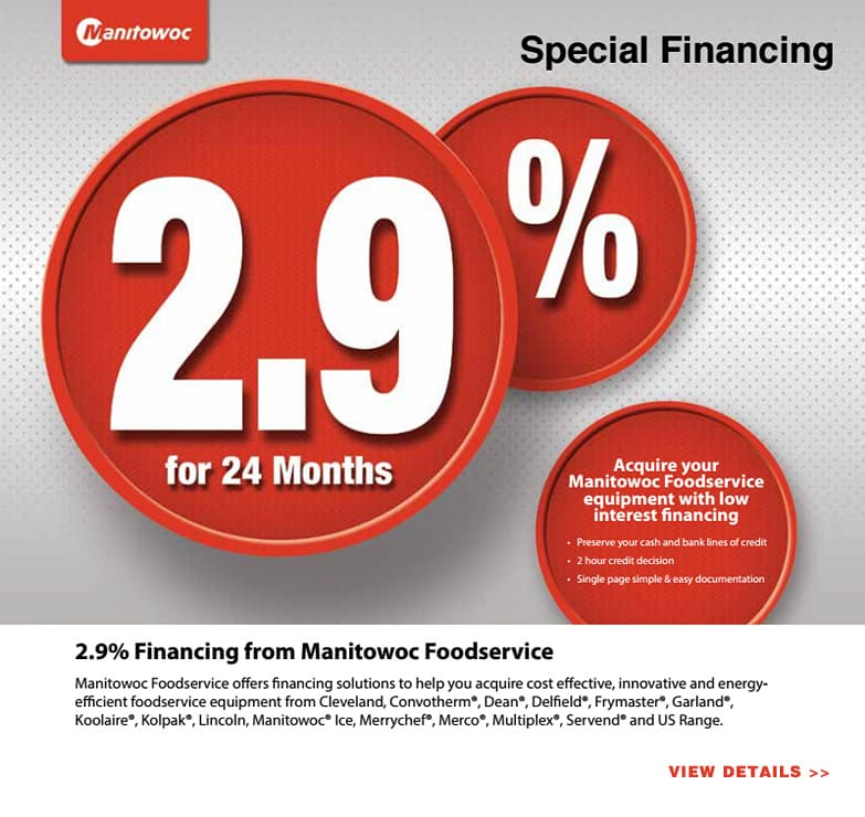 2.9% APR Financing from Manitowoc Foodservice